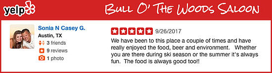Bull O The Woods Saloon Review